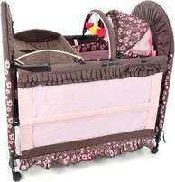 Chelino 6-In-1 Camp Cot & Change Mat With Rocker - Brown/Pink