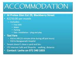 Accommodation available NOW
