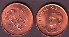 South African 1968 english and Afrikaans 1cent coins