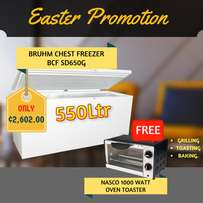 Bruhm Chest Freezer 500Ltr + free Oven toaster