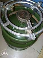 2 6kg gas cylinders with a burner and the stand