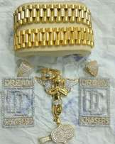 pure 18karat gold dc pendant and rope chain and cuban
