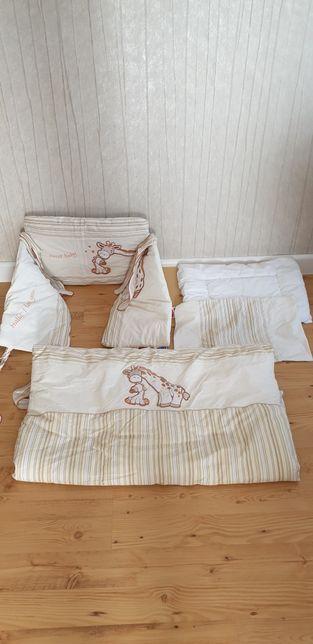 f5e62bd3cf0716 Ochraniacze do łóżeczka+ pościel + kołdra + poduszka + pianka, żyrafa Gdańsk  - image 1
