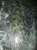 Blue and yellow block beads necklace with pearl bead layer