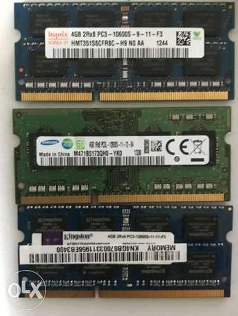 4 GB DDR3 10600 or 12800 for Laptop موجود كميه