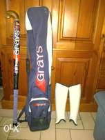 Grays hockey stick,shin pads & bag