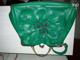 Beautiful flower pattern green bag