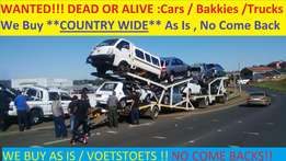 Wanted Cars and Bakkies in any condition anywhere in Cape Town