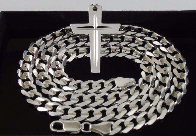 d3eb4e70cc5f78 Srebrny Łańcuszek Pancerka 50cm 7,2mm Łańcuch Męski Srebrny + Krzyżyk  Białystok - image 4