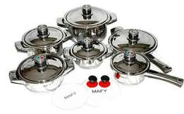 New Swiss Brand Mafy Cookware 16Pcs Set Stainless Steel