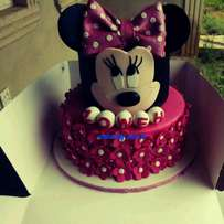 Minnie Mouse theme birthday Cake