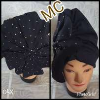 Turban cap, stoned and beads with brooch