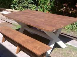 6 Seater Dining Table, Oregon, Benches, Made to order, 12, 10, 8.