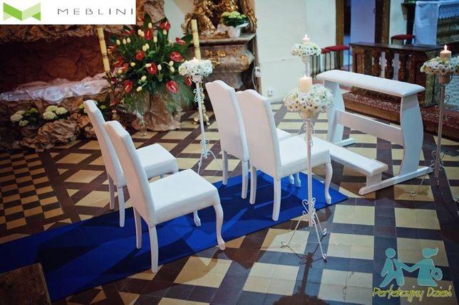 W superbly Zestaw mebli ślubnych klęcznik + 4 białe stylowe krzesła Producent FN78