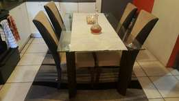 Dining table with 4 leathers chairs