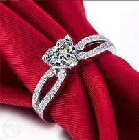 Splendid Synthetic Diamond Sterling Silver Ladies Engagement Ring