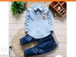 Jentle boy outfits clothing set quality shirt and jean