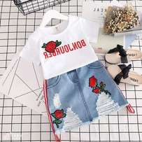 Kids clothes girls tops + jeans trousers 2pcs sets