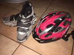 Cycling shoes and helmet