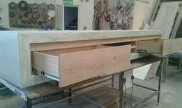 Solid oak and light weight concrete furniture on sale now.
