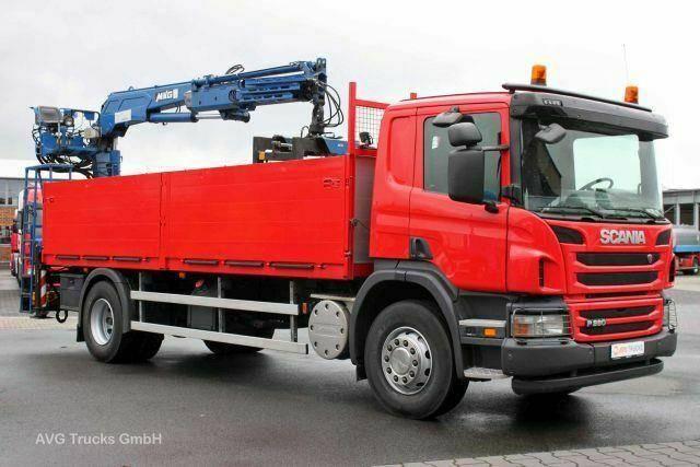 Scania P 280, Heckkran MKG HLK120 + Steinzange,Baustoff - 2012