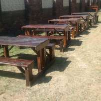Picnics, Gardens and Patios wooden furniture or benches