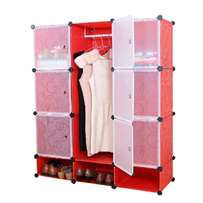 3in1 plastic wardrobe with Hanging apartment and shoe rack