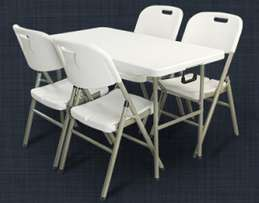 1.2 Plastic Fold Up Trestle Table with Chairs - R1630