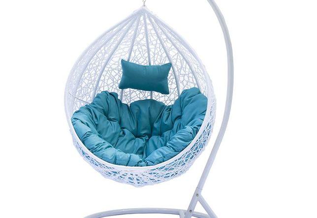 Fotel Wiszacy Ogrodowy Kokon Biały Brąz Niebieski