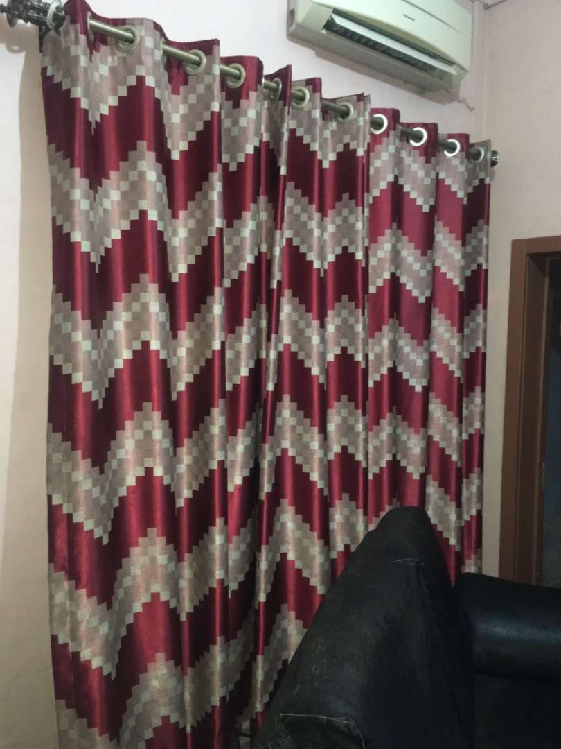 Fairly Used Curtains 1big Window Matching Throw Pillow 0