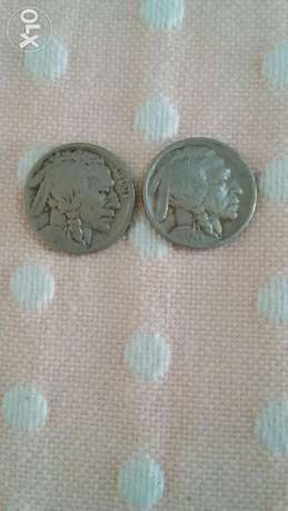 Two USA Buffalo Indian Head Five cents Nickel year 1929