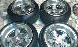 13inch compo mag rims 8jwides and tyres sell or swop