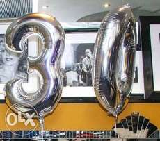 Balloons - silver foil 30th birthday party