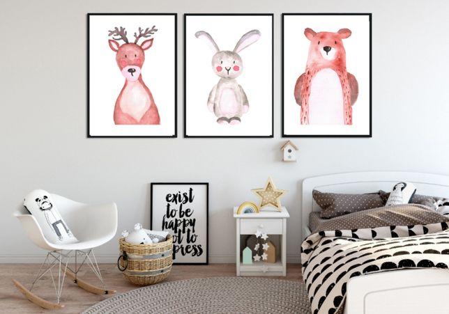 Plakaty Dla Dziecka Do Pokoju Tryptyk Zwierzęta