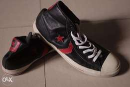 Converse All Star leather high-top sneakers (black/red)