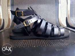 pure black gladiator sandals