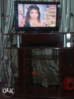 TV wooden stand and DVD player see