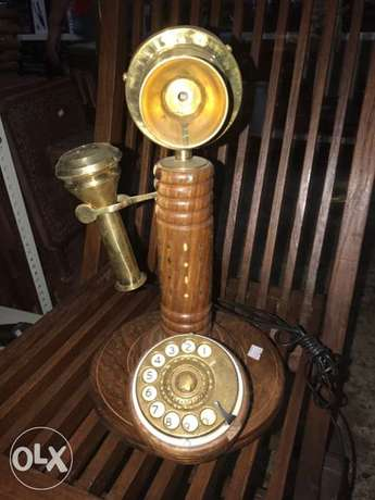 old solid wood phone