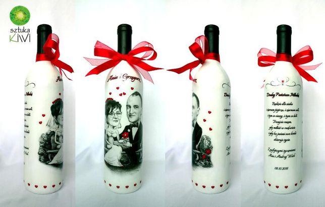 Najnowsze Butelka wino z karykaturą, prezent dla Pary Młodej, Ślub, Rocznica SY99