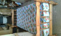 Single pine bed and mattress R500