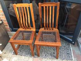 6 Solid Blackwood riempie high back chairs