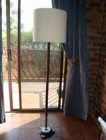Vintage solid marble & brass floor lamp with large off-white shade