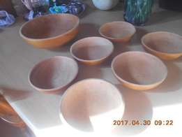 Cherry wood set of seven bowls