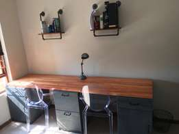Study desk, industrial shelves and lamp (set)