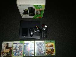 XBOX 360 250 Gig Slimline in Box New 5 Months 1 Remote 5 Games