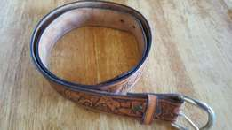 Awesum big five genuine leather belt done by renowned artist