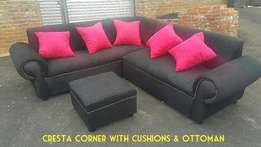 Brand New Fabric Cresta Corner Lounge Suite with Cushions & ottoman