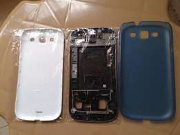 White Back Cover, Middle Frame Housing, and Hard Casing for Samsung S3