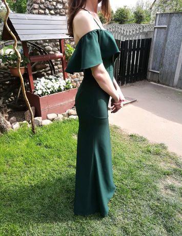 Suknia sukienka wesele studniówka butelkowa zieleń długa