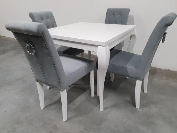 Wspaniały Krzesło pikowane tapicerowane białe siwe z kołatką PRODUCENT modne ZR42